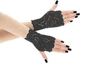 Rukavice - Dámské čierné čipkové rukavice 01BA - 6397193_