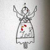 Dekorácie - anjelka s menom 17cm - mama - 6393375_