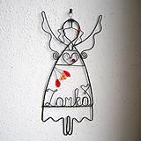Dekorácie - anjelka s menom 17cm - mama - 6393376_