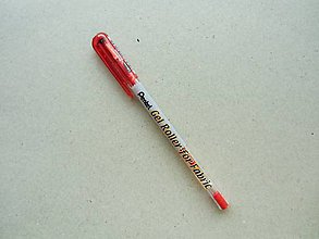 Pomôcky/Nástroje - Gelové pero na textil Pentel - červené - 6395097_