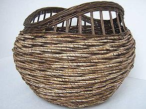 Košíky - Košík veľký z pedigu a kukuričnej šnúry morený - 6393764_