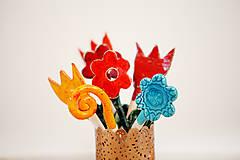 Dekorácie - Andreas: Kvetinový keramický zápich modrý - 6395237_