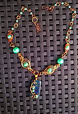 zelené perličky v medi  - náhrdelník