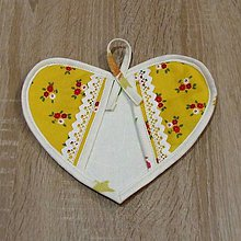 Úžitkový textil - Chňapka srdce - žlto červená - 6393307_