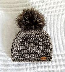 Detské čiapky - Sivo hnedá s kožušinkovým brmbolcom - 6394044_