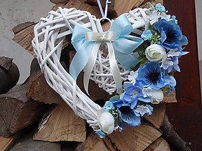 Dekorácie - Modro - smotanové srdce - 6397009_