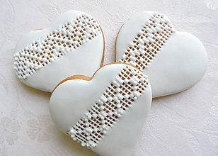 Darčeky pre svadobčanov - Svadobné medovníčky s krajkou - 6398237_