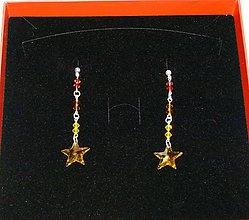 Náušnice - Pestrofarebné hviezdičky - 6398580_
