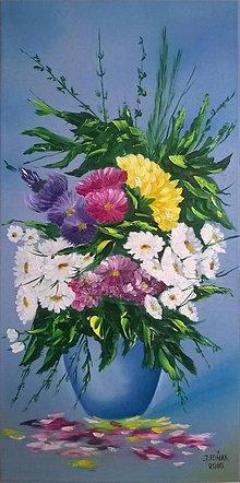 Obrazy - Kytica kvetov vo váze - 6398577_