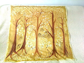 Šatky - hodvábna šatka stromy - 6399804_