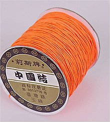 Galantéria - Shamballa šnúrka oranžová 0,8 mm - 6399517_