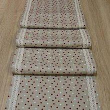 Úžitkový textil - Stredový obrus - bodky na režnej 160x26 - 6400150_