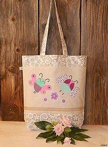 Nákupné tašky - Ekotaška s motýlikmi a kvietkami - 6397526_