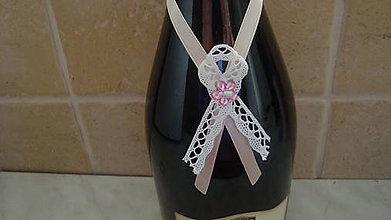 Darčeky pre svadobčanov - Stuhy na fľaše - 6398230_