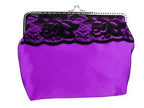 Taštičky - Spoločenská dámská fialová kabelka, taštička 08254 - 6402953_