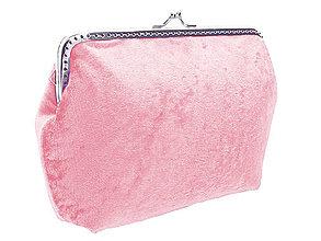 Taštičky - Dámská zamatová kabelka růžová 0470 - 6404319_