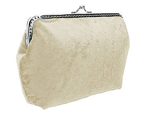 Taštičky - Dámská zamatová kabelka ivory, taštička 0470 - 6404330_