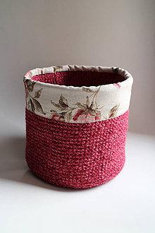 Košíky - Košík - obšitý bordový kvety MAXI - 6404680_