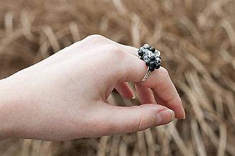 Prstene - obsidiánovo-krištáľový prsteň - 6403957_