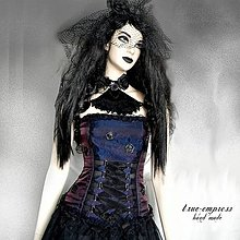 Šaty - Fialovo-modrý gotický korzet - 6404894_