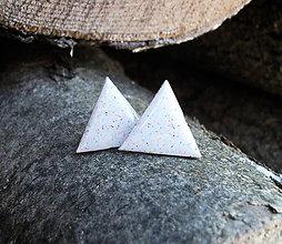 Náušnice - Trojuholníky 20 mm (svetlé s bodkami) - 6401084_