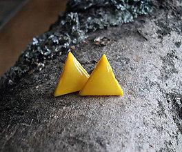 Náušnice - Trojuholníčky 10 mm (žlté) - 6401187_