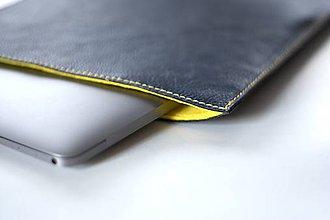 Na notebook - Kožené púzdro na Macbook Air 13 s filcom-modré - 6404904_