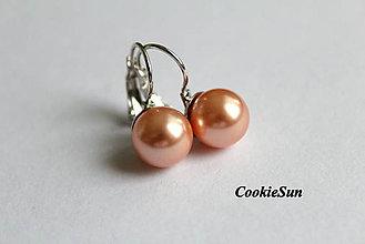 Náušnice - Perlová Klasika... Swarovski Pearls Rose Peach Rh - 6402569_