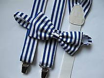 Pánsky motýlik a traky- pruhovaný set modro-biely