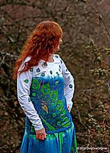 Topy, tričká, tielka - Dámske tričko batikované a maľované PÁVOOČKO - 6405786_