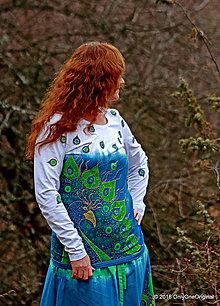 Tričká - Dámske tričko batikované a maľované PÁVOOČKO - 6405786_