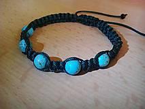 Náramky - Shamballa náramok s korálkami Tyrkys - 6405744_