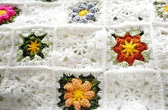 Textil - Kvietky v bielej - 6407572_