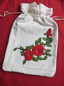 Úžitkový textil - folk ľanové vrecko s ružou - 6407448_