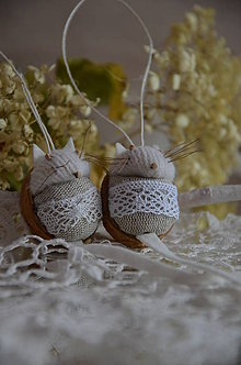 Dekorácie - Biela myšička na želanie - 6408654_
