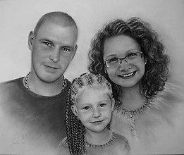 Kresby - portrét na objednávku - taká malá rodinka - 6409094_