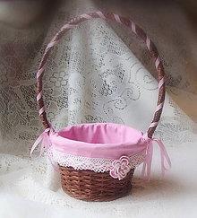 Košíky - košík hnedo ružový - dekoračný - 6407176_