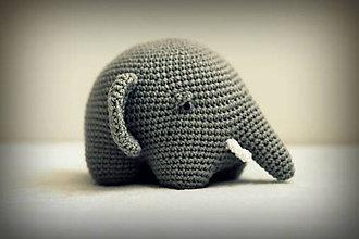 Hračky - háčkovaný slon Kvintus - 6409168_