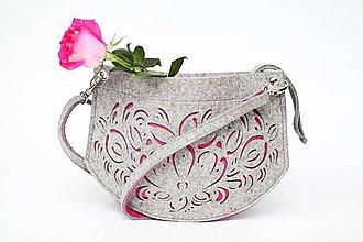 Kabelky - Šedo-ružová malá majolika - 6409944_