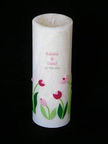 Svietidlá a sviečky - Svatební svíčka s logem a tulipány - 6410379_
