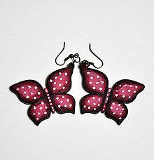 Náušnice - Drevené ručne maľované náušnice - Motýle - 6410733_