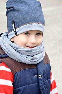 Detské čiapky - jarná čiapka s menom Denim & Kakao - 6413436_