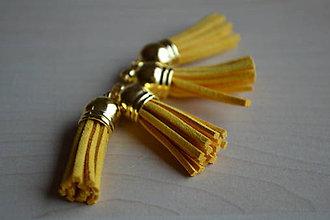 Polotovary - Kožený strapec zlatožltý(zlato), 35mm, 0.28€/ks - 6411773_