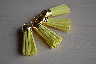 Polotovary - Kožený strapec žltý (zlato), 35mm, 0.28€/ks - 6411780_