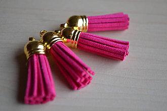 Polotovary - Kožený strapček fuchsia (zlato), 35mm, 0.28€/ks - 6411814_
