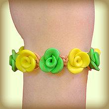 Náramky - Zeleno-žlté ružičky(Shamballa náramky) - 6412764_