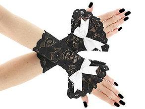 Rukavice - Spoločenské dámské čierné čipkové rukavice  0185A4 - 6418486_