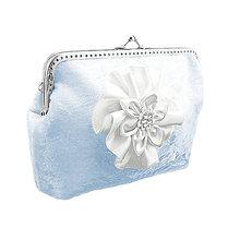 Taštičky - Svadobná zamatová modrá kabelka, dámská kabelka 0555 - 6419017_
