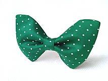 Náhrdelníky - Dark green bow tie with mini white polka dots - 6416884_