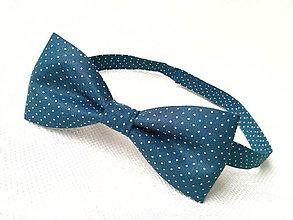 Doplnky - Mr.Elegant bow tie (dark blue with small white polka dots) - 6417399_